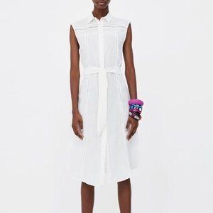 [ZARA] LINEN DRESS WITH LACE TRIMS